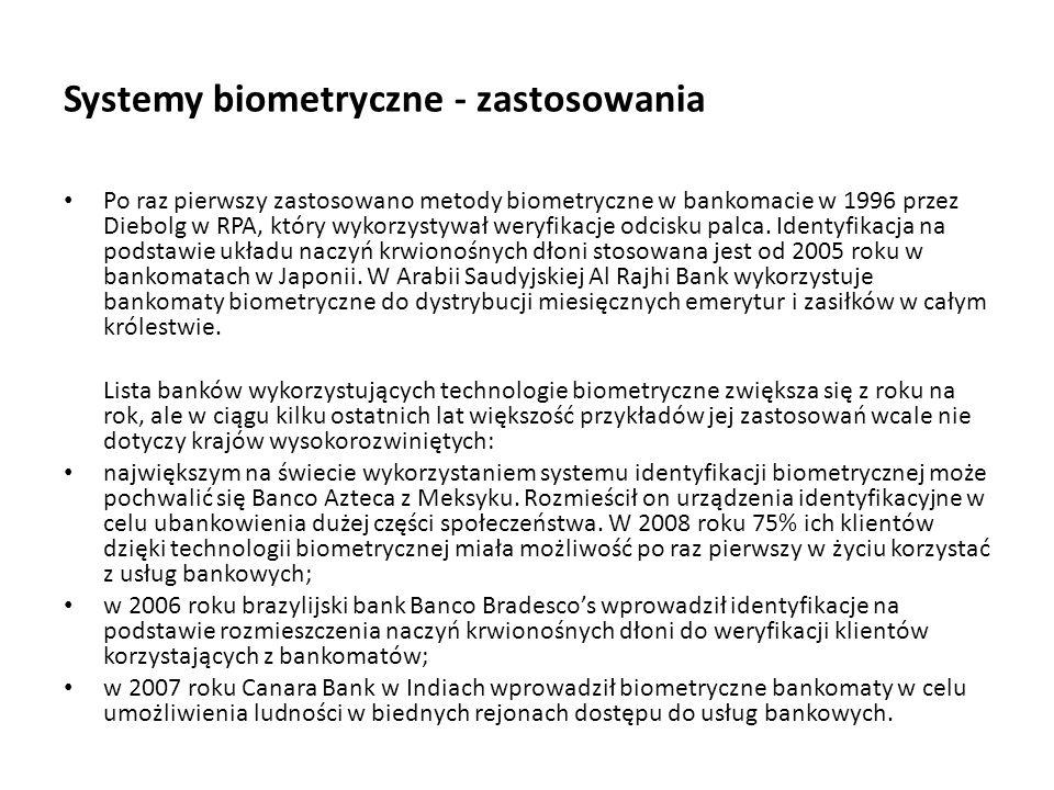Systemy biometryczne - zastosowania