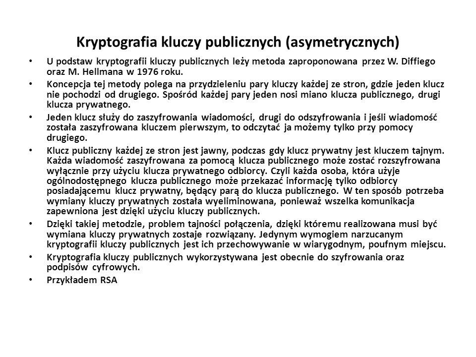 Kryptografia kluczy publicznych (asymetrycznych)
