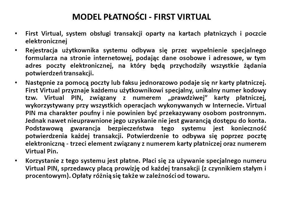 MODEL PŁATNOŚCI - FIRST VIRTUAL