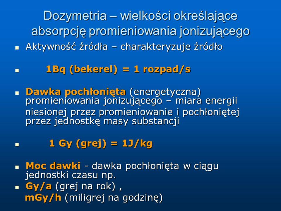 Dozymetria – wielkości określające absorpcję promieniowania jonizującego