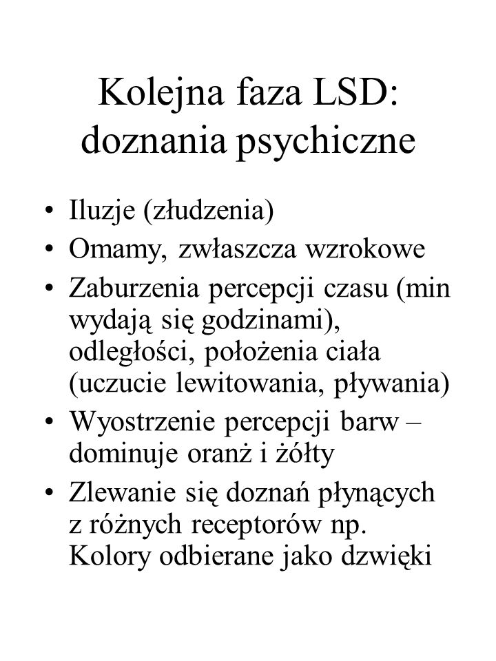 Kolejna faza LSD: doznania psychiczne