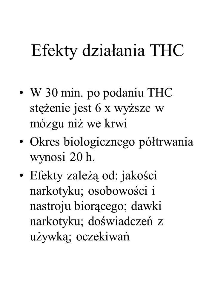 Efekty działania THC W 30 min. po podaniu THC stężenie jest 6 x wyższe w mózgu niż we krwi. Okres biologicznego półtrwania wynosi 20 h.