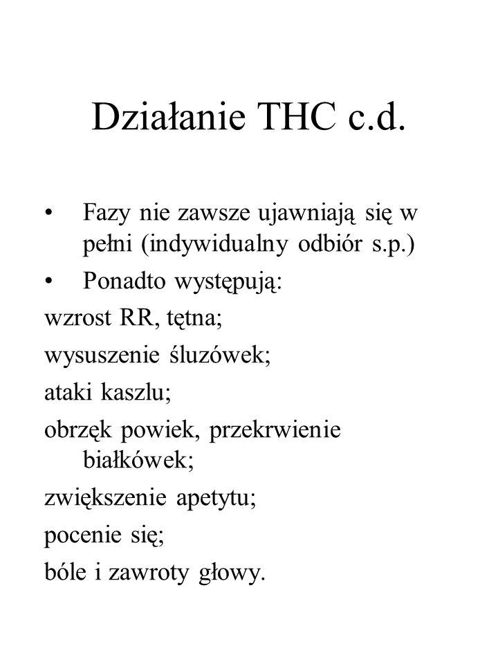 Działanie THC c.d. Fazy nie zawsze ujawniają się w pełni (indywidualny odbiór s.p.) Ponadto występują: