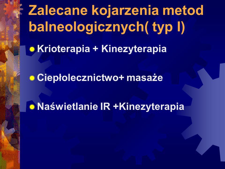 Zalecane kojarzenia metod balneologicznych( typ I)