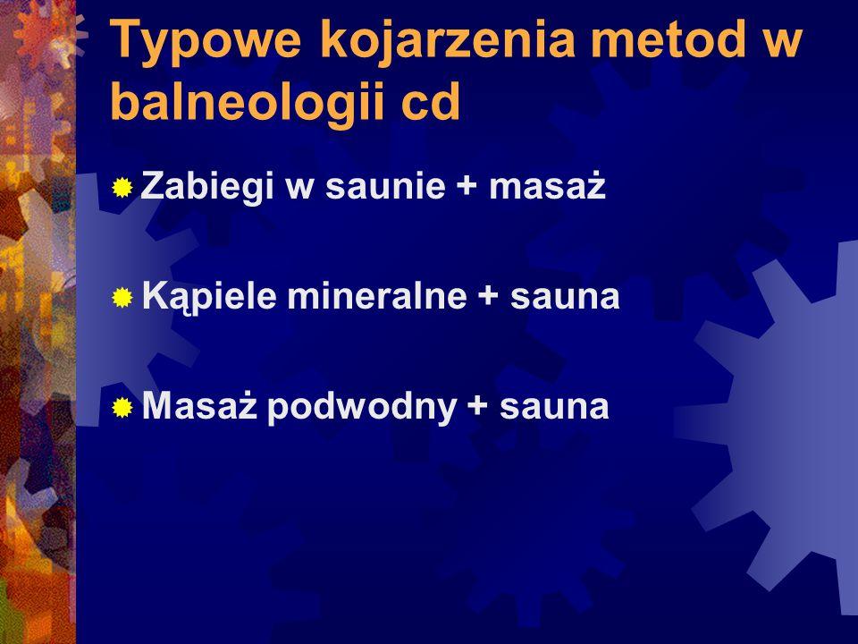 Typowe kojarzenia metod w balneologii cd