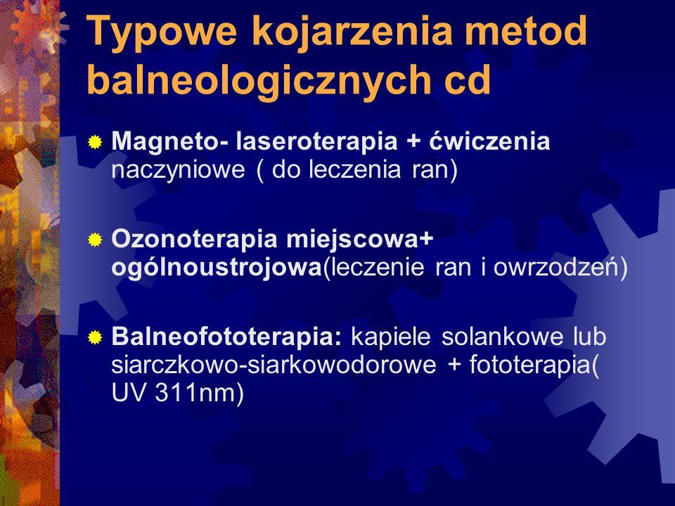 Typowe kojarzenia metod balneologicznych cd