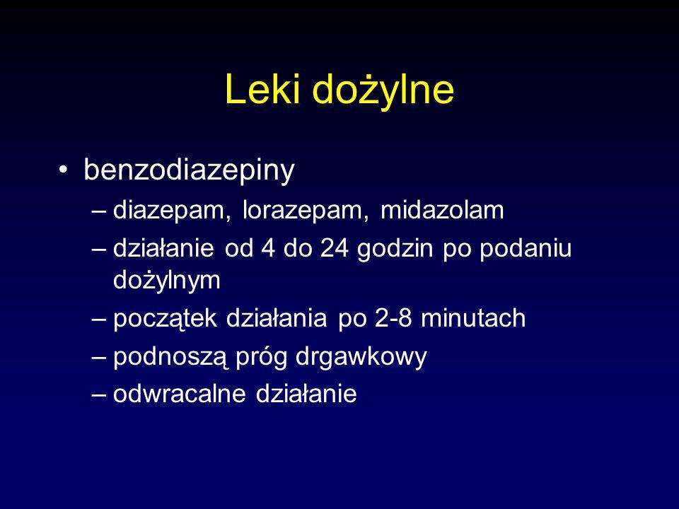 Leki dożylne benzodiazepiny diazepam, lorazepam, midazolam