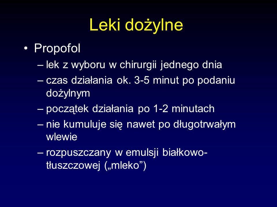 Leki dożylne Propofol lek z wyboru w chirurgii jednego dnia