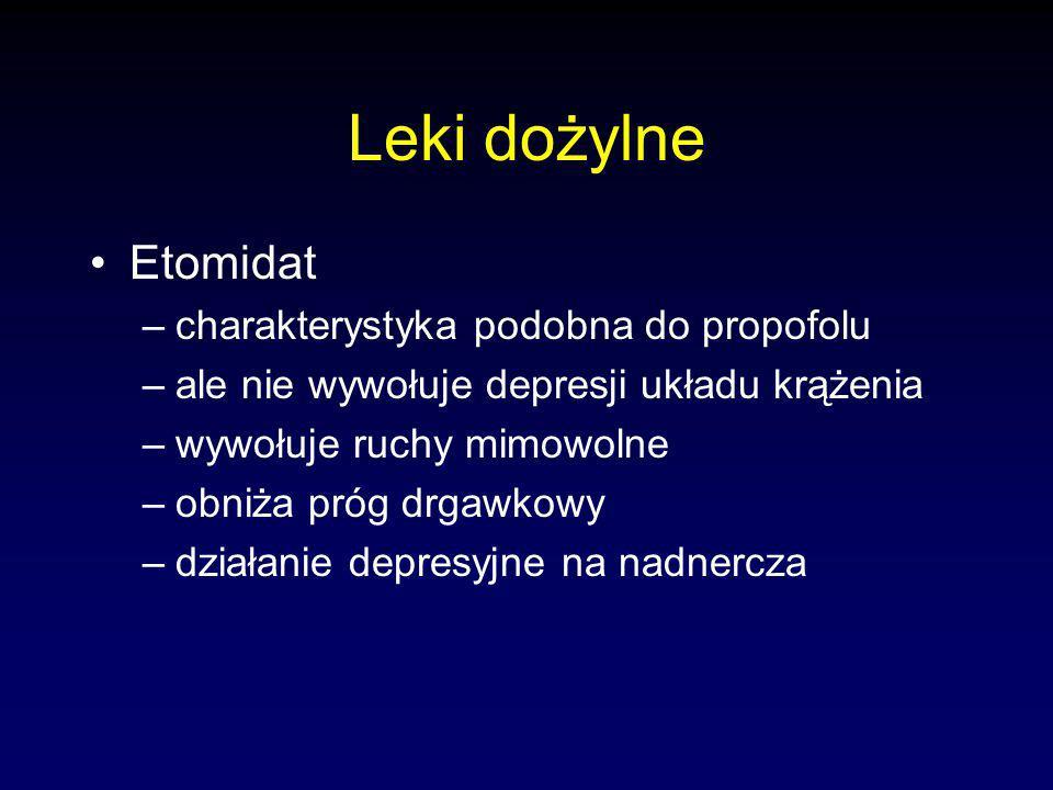 Leki dożylne Etomidat charakterystyka podobna do propofolu