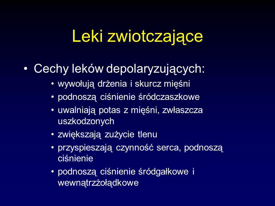 Leki zwiotczające Cechy leków depolaryzujących: