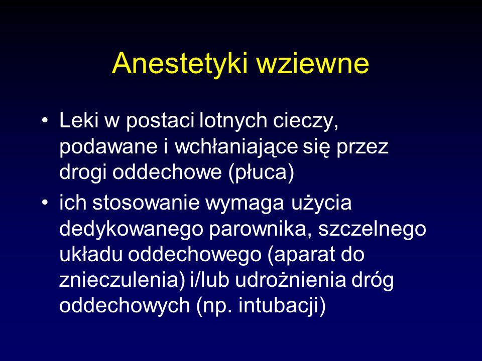 Anestetyki wziewne Leki w postaci lotnych cieczy, podawane i wchłaniające się przez drogi oddechowe (płuca)