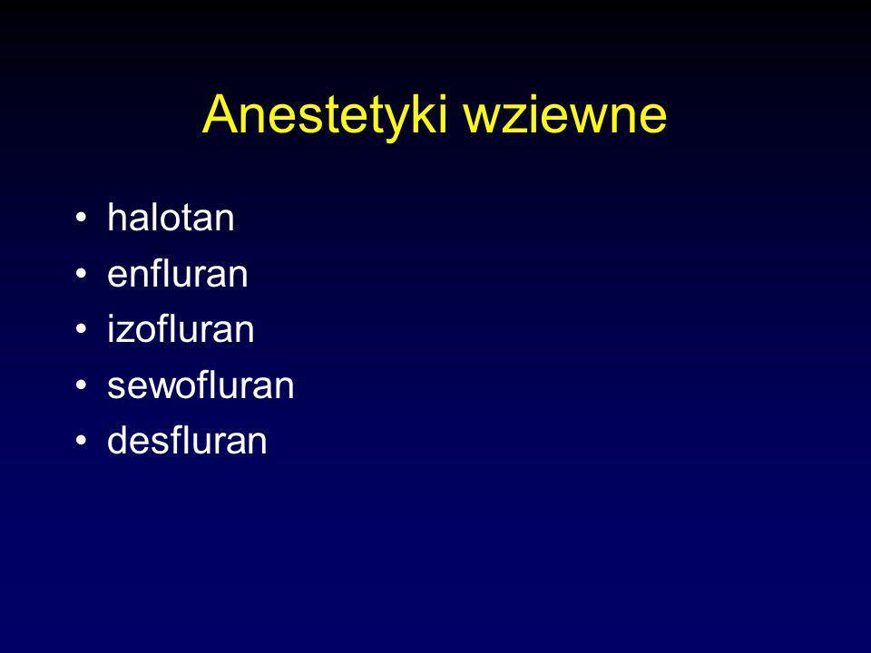Anestetyki wziewne halotan enfluran izofluran sewofluran desfluran