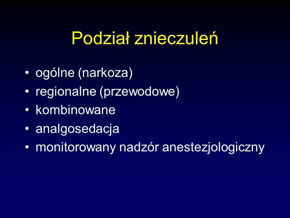 Podział znieczuleń ogólne (narkoza) regionalne (przewodowe)
