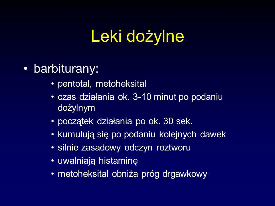 Leki dożylne barbiturany: pentotal, metoheksital