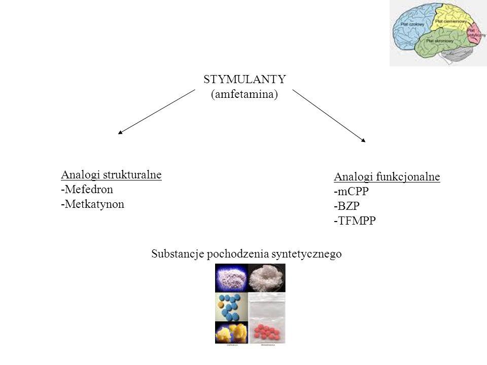 STYMULANTY (amfetamina) Analogi strukturalne. Mefedron. Metkatynon. Analogi funkcjonalne. mCPP.