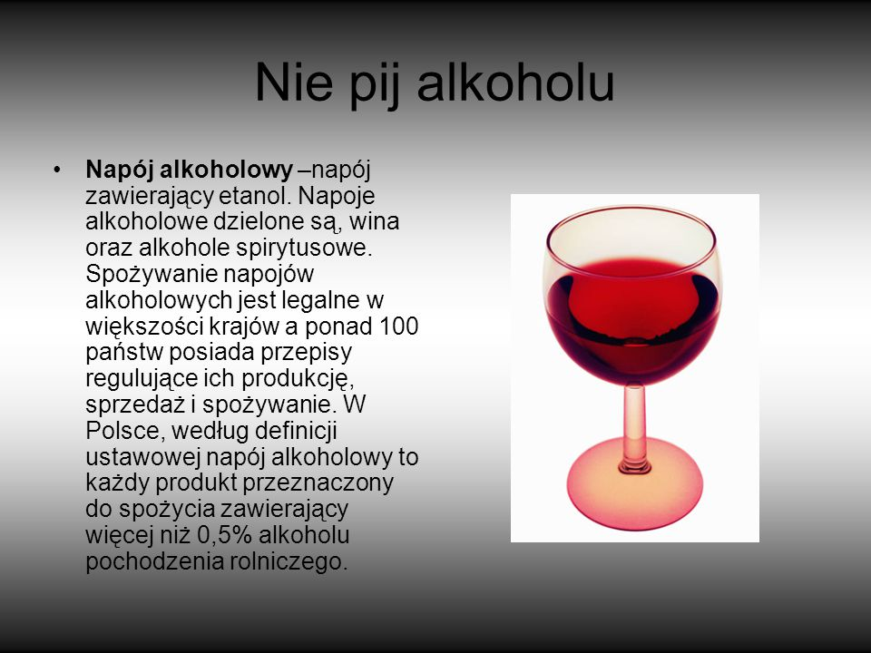 Nie pij alkoholu