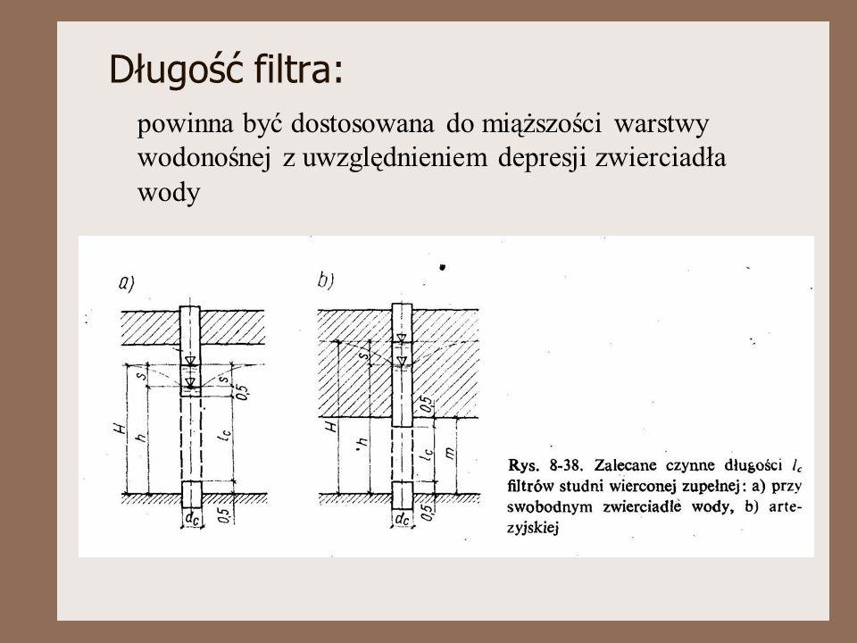 Długość filtra: powinna być dostosowana do miąższości warstwy wodonośnej z uwzględnieniem depresji zwierciadła wody.