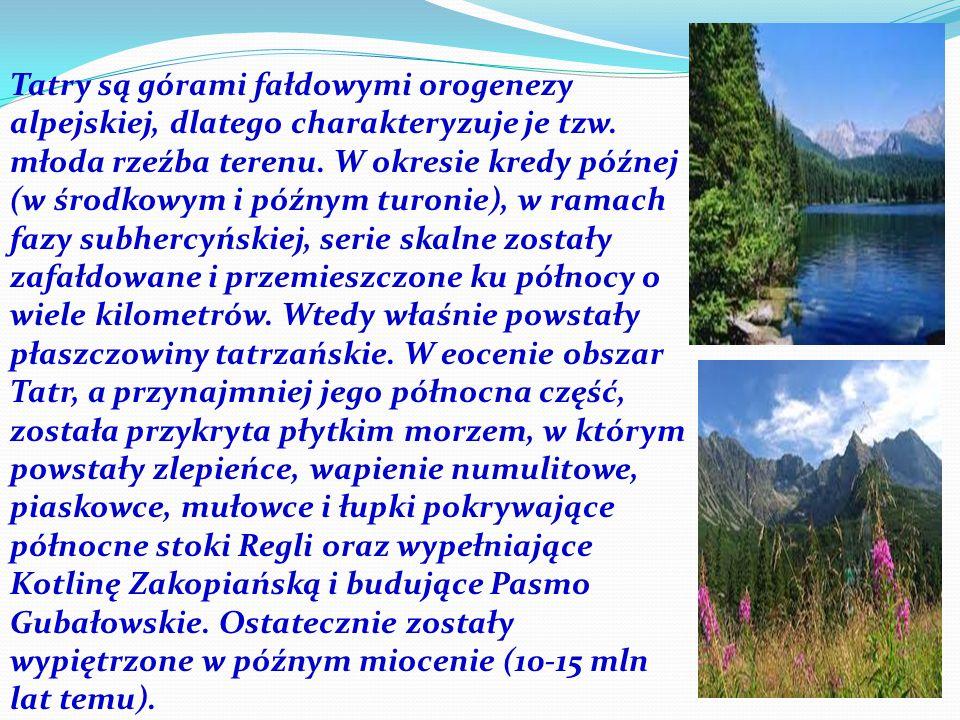 Tatry są górami fałdowymi orogenezy alpejskiej, dlatego charakteryzuje je tzw.