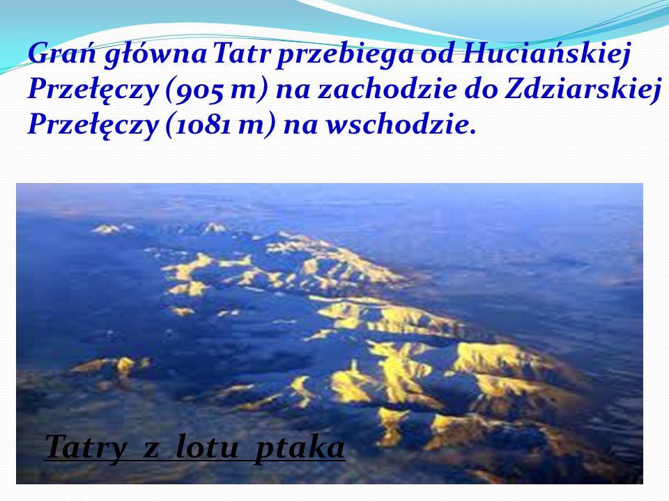 Grań główna Tatr przebiega od Huciańskiej Przełęczy (905 m) na zachodzie do Zdziarskiej Przełęczy (1081 m) na wschodzie.