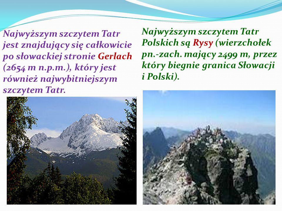 Najwyższym szczytem Tatr Polskich są Rysy (wierzchołek pn. -zach
