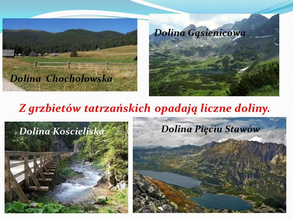 Z grzbietów tatrzańskich opadają liczne doliny.