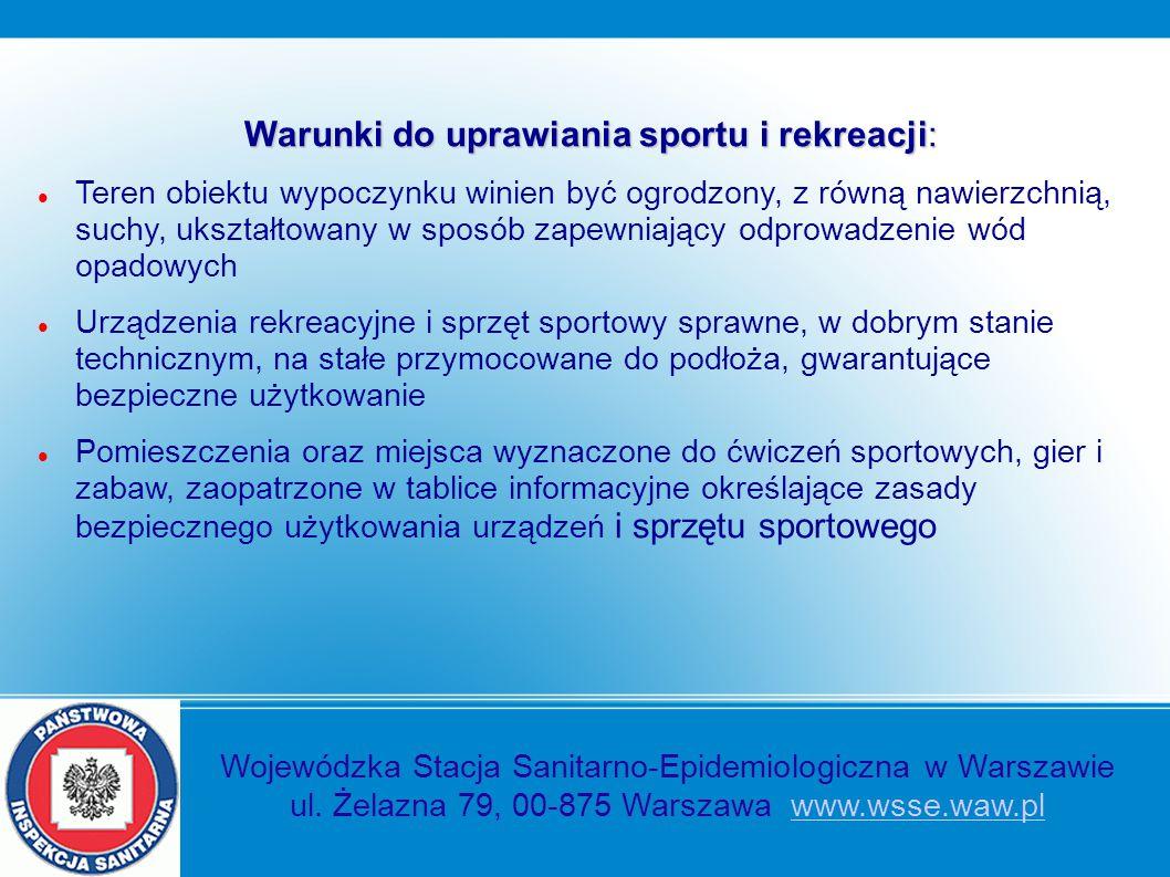 Warunki do uprawiania sportu i rekreacji: