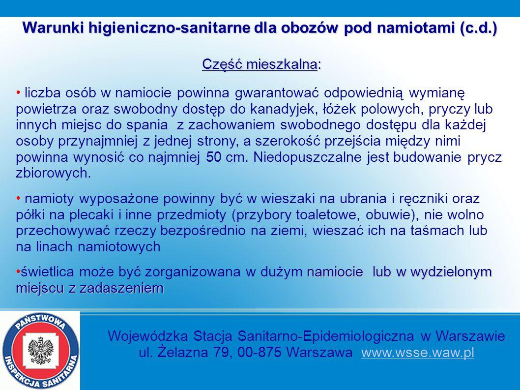 Warunki higieniczno-sanitarne dla obozów pod namiotami (c.d.)