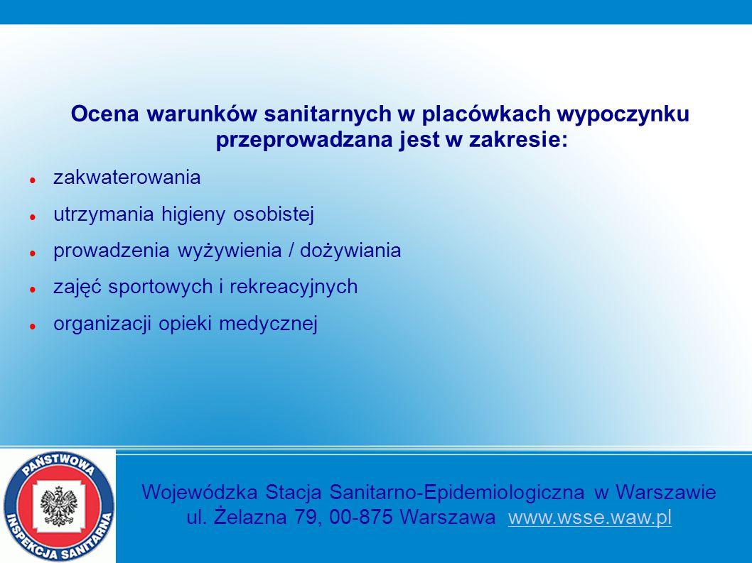 Ocena warunków sanitarnych w placówkach wypoczynku przeprowadzana jest w zakresie: