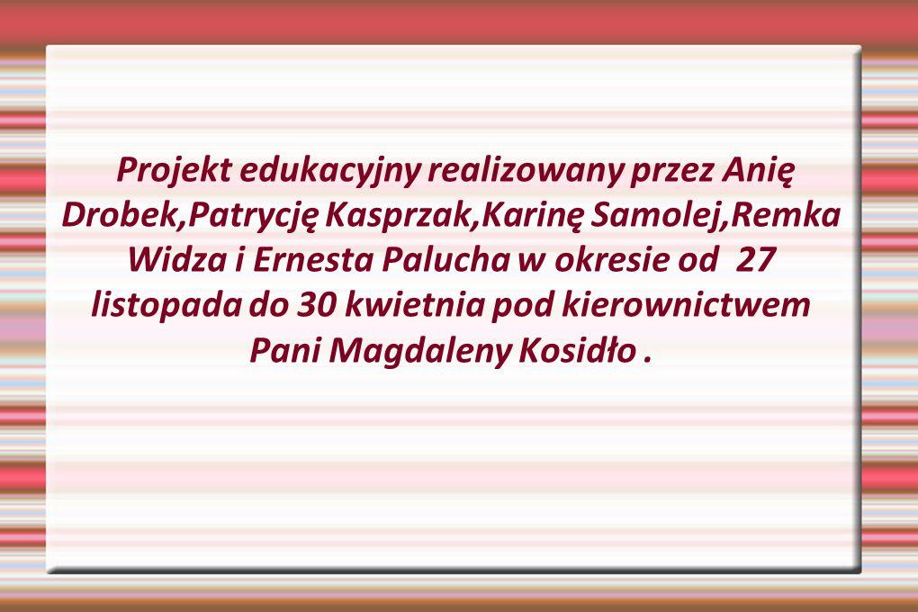 Projekt edukacyjny realizowany przez Anię Drobek,Patrycję Kasprzak,Karinę Samolej,Remka Widza i Ernesta Palucha w okresie od 27 listopada do 30 kwietnia pod kierownictwem Pani Magdaleny Kosidło .