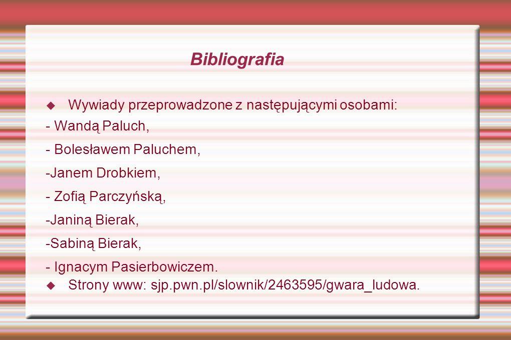 Bibliografia Wywiady przeprowadzone z następującymi osobami: