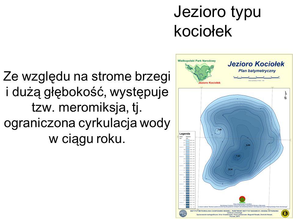 Jezioro typu kociołek Ze względu na strome brzegi i dużą głębokość, występuje tzw. meromiksja, tj.
