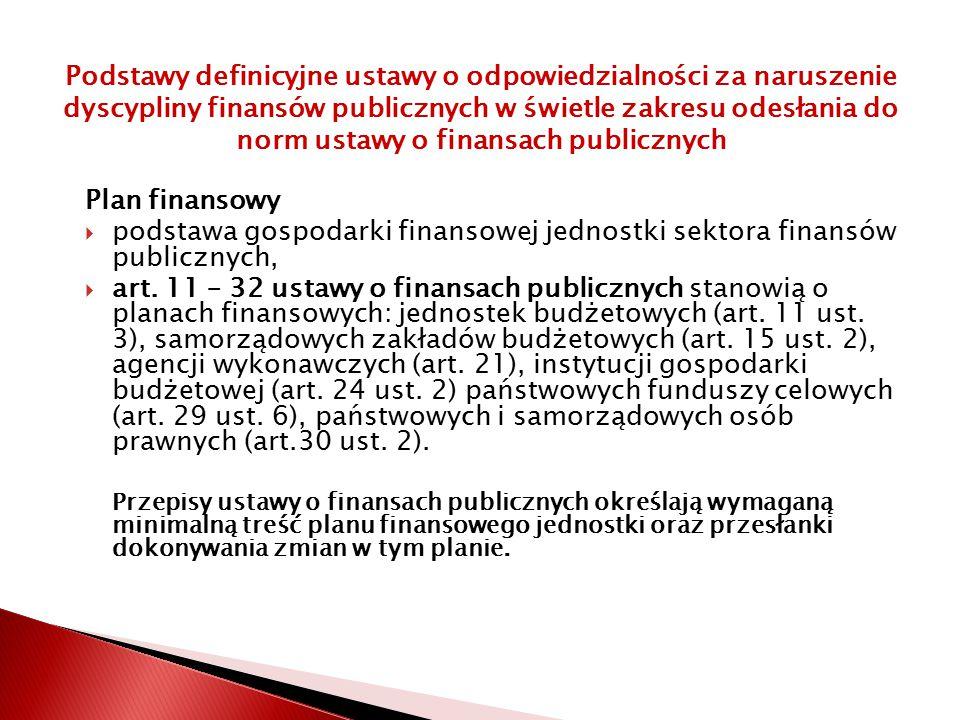 podstawa gospodarki finansowej jednostki sektora finansów publicznych,