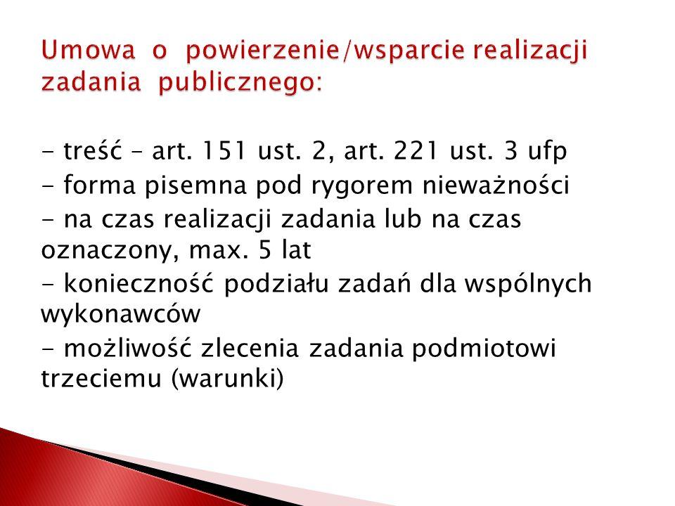 Umowa o powierzenie/wsparcie realizacji zadania publicznego: