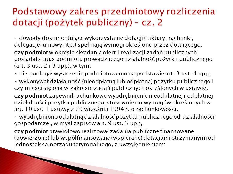 Podstawowy zakres przedmiotowy rozliczenia dotacji (pożytek publiczny) – cz. 2