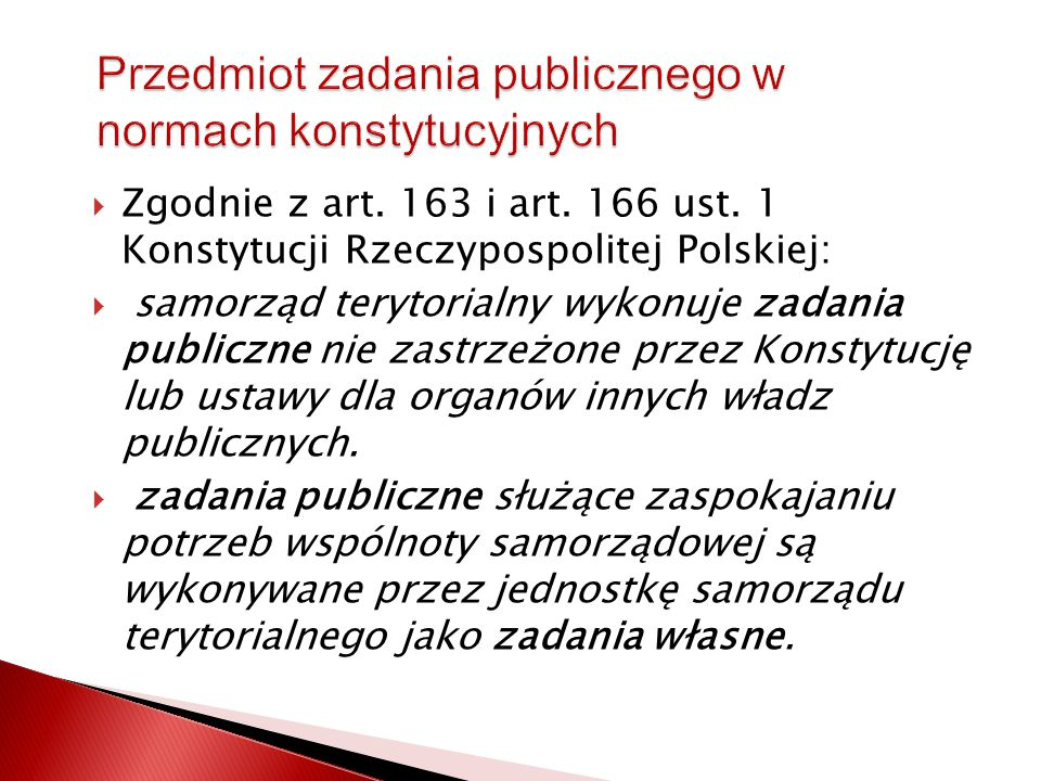 Przedmiot zadania publicznego w normach konstytucyjnych
