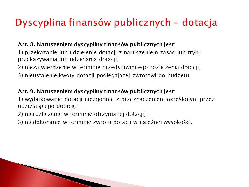 Dyscyplina finansów publicznych - dotacja