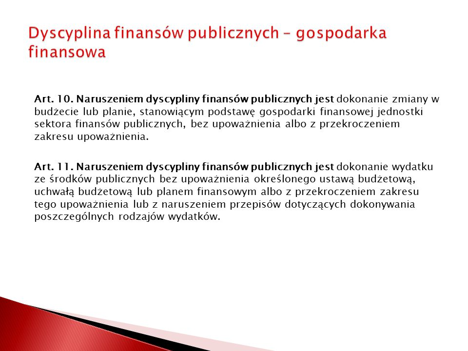 Dyscyplina finansów publicznych – gospodarka finansowa