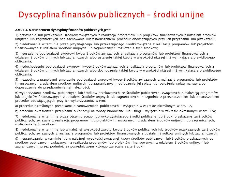 Dyscyplina finansów publicznych – środki unijne