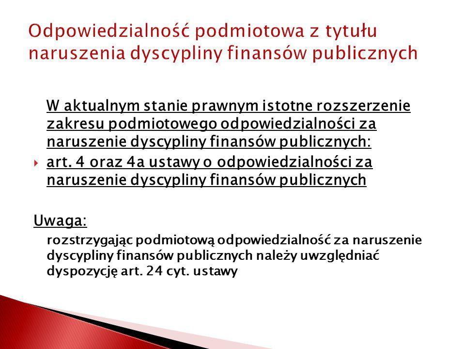 Odpowiedzialność podmiotowa z tytułu naruszenia dyscypliny finansów publicznych