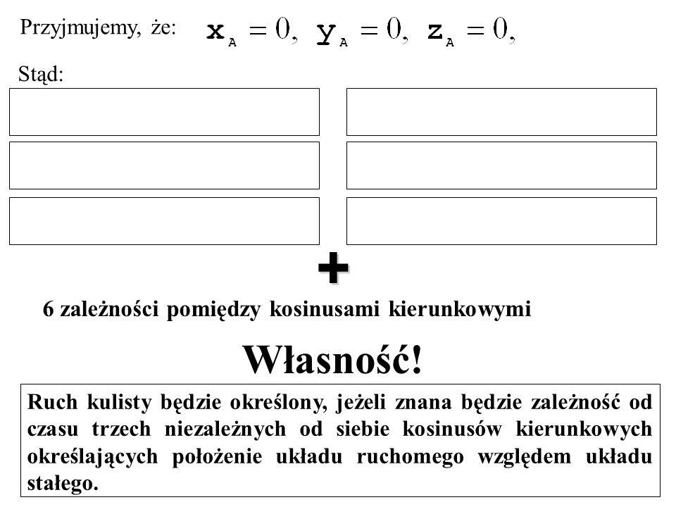 Własność! + 6 zależności pomiędzy kosinusami kierunkowymi