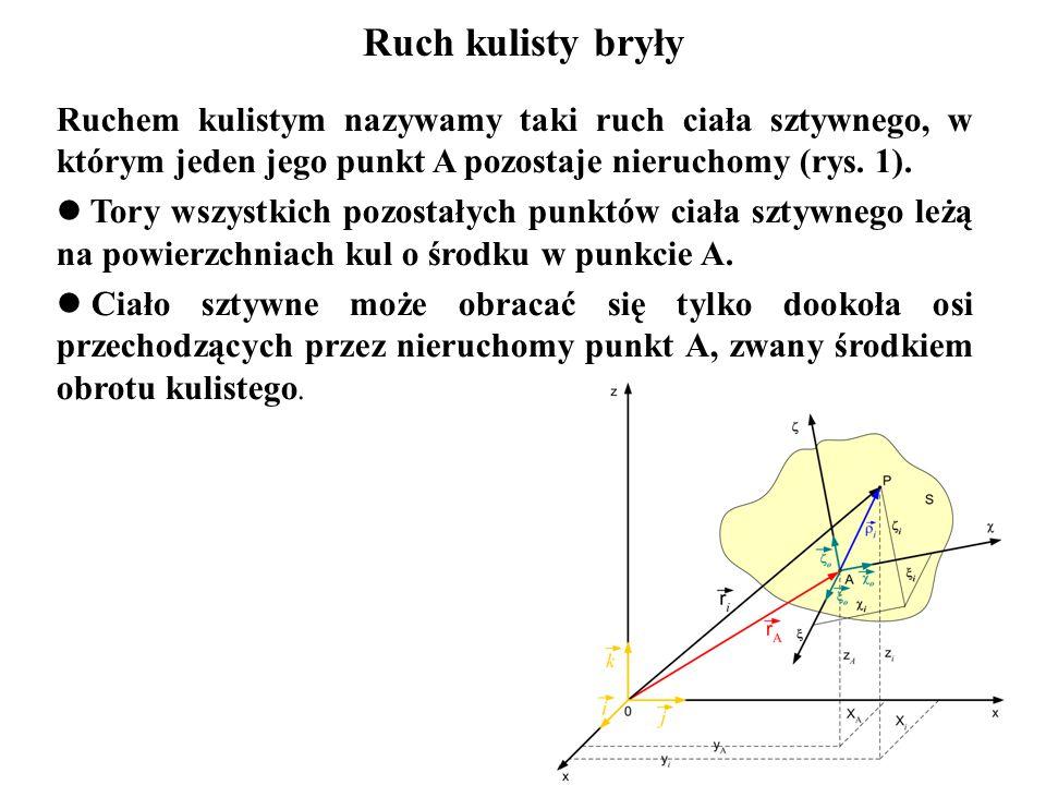 Ruch kulisty bryły Ruchem kulistym nazywamy taki ruch ciała sztywnego, w którym jeden jego punkt A pozostaje nieruchomy (rys. 1).