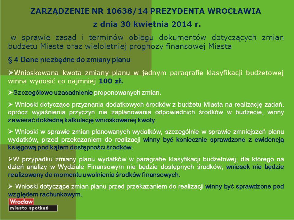 ZARZĄDZENIE NR 10638/14 PREZYDENTA WROCŁAWIA