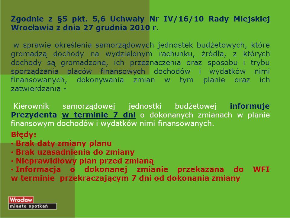 Zgodnie z §5 pkt. 5,6 Uchwały Nr IV/16/10 Rady Miejskiej Wrocławia z dnia 27 grudnia 2010 r.