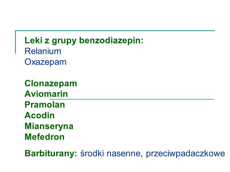 Leki z grupy benzodiazepin: Relanium Oxazepam Clonazepam Aviomarin Pramolan Acodin Mianseryna Mefedron Barbiturany: środki nasenne, przeciwpadaczkowe