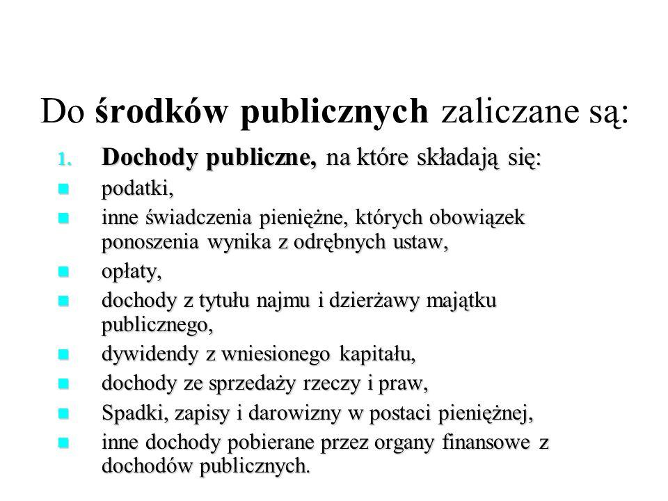 Do środków publicznych zaliczane są: