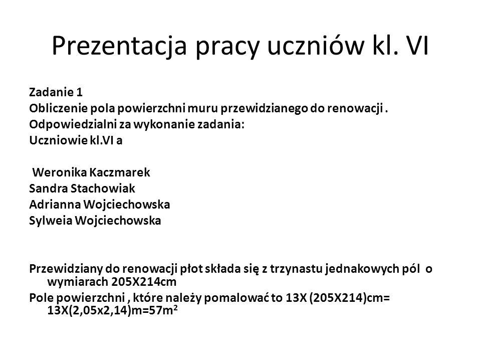 Prezentacja pracy uczniów kl. VI