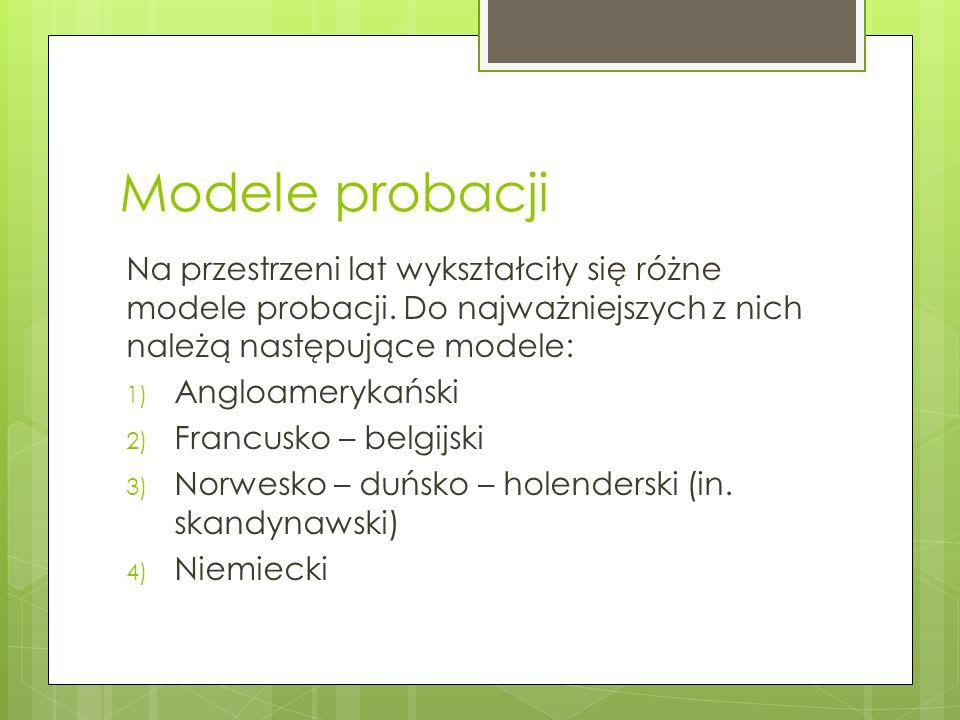 Modele probacji Na przestrzeni lat wykształciły się różne modele probacji. Do najważniejszych z nich należą następujące modele: