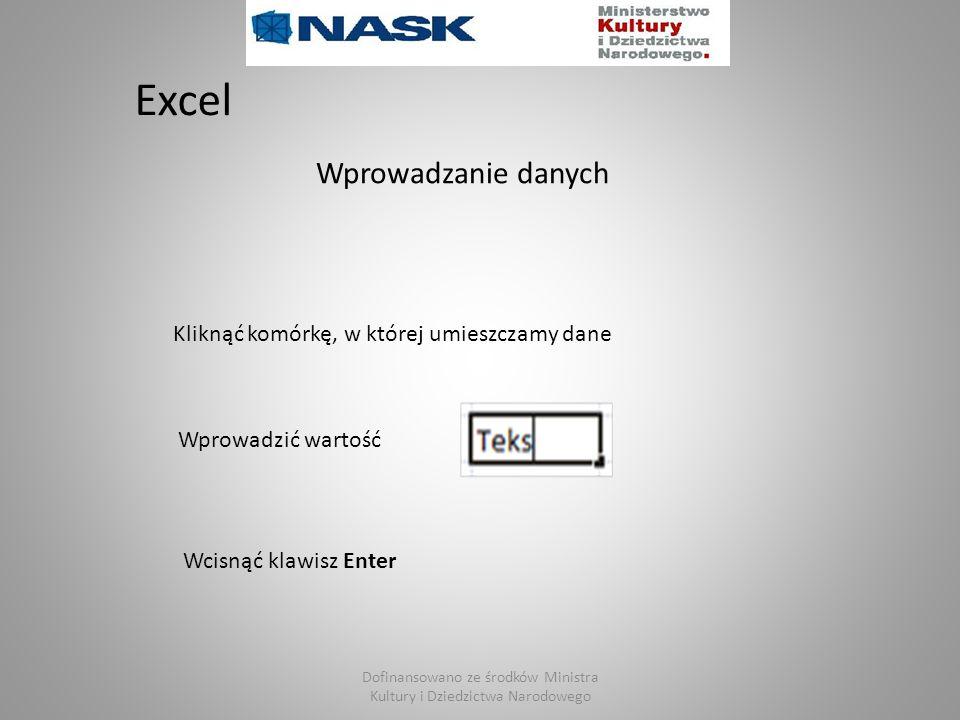 Excel Wprowadzanie danych Kliknąć komórkę, w której umieszczamy dane