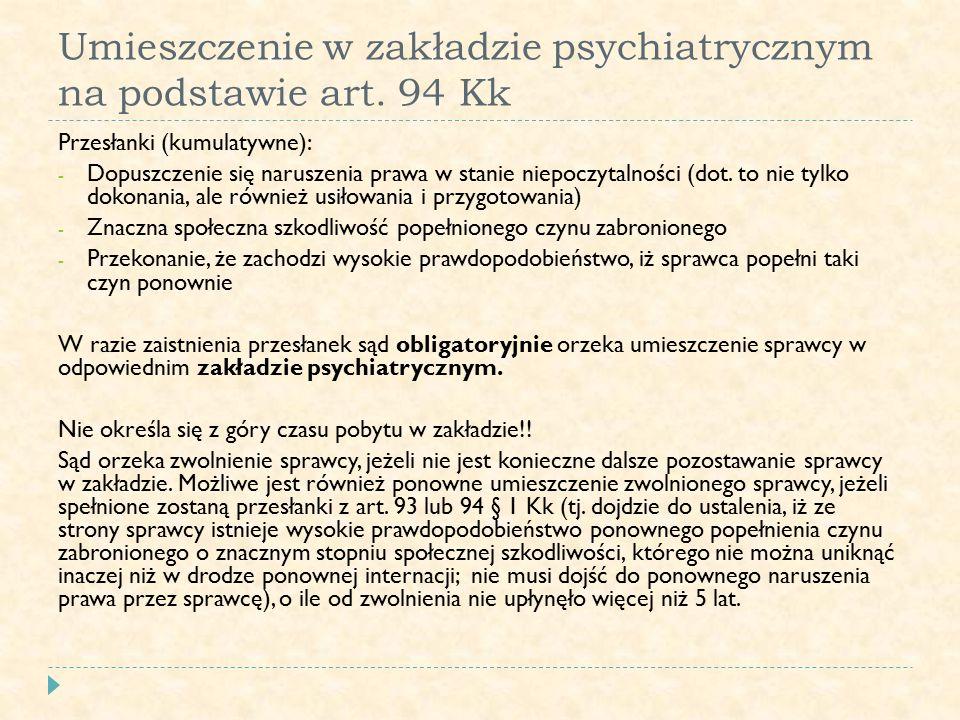 Umieszczenie w zakładzie psychiatrycznym na podstawie art. 94 Kk