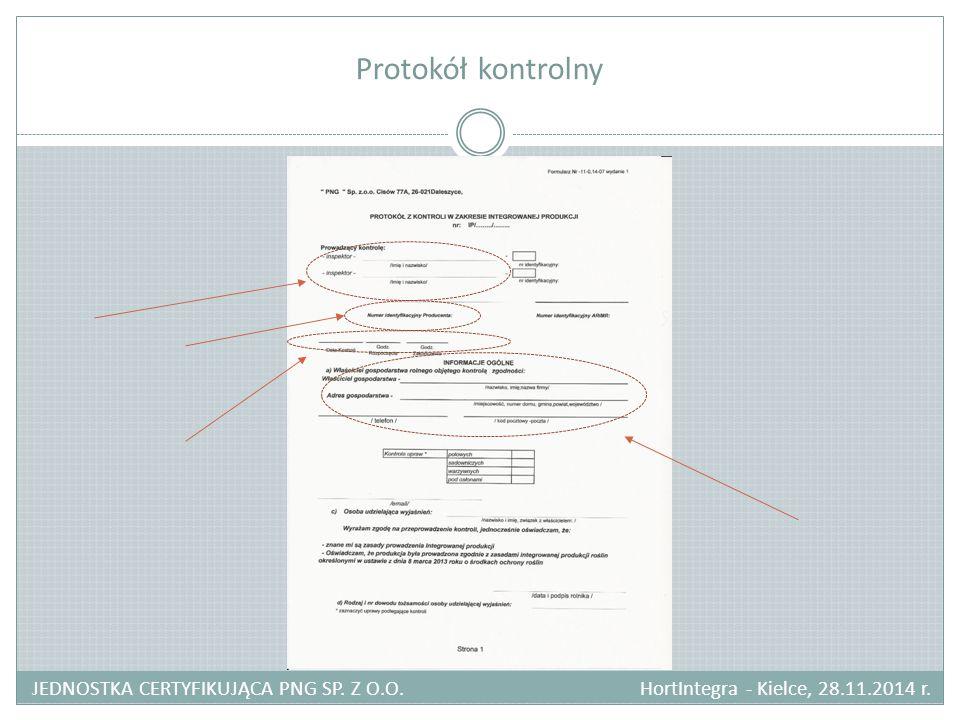 Protokół kontrolny JEDNOSTKA CERTYFIKUJĄCA PNG SP.